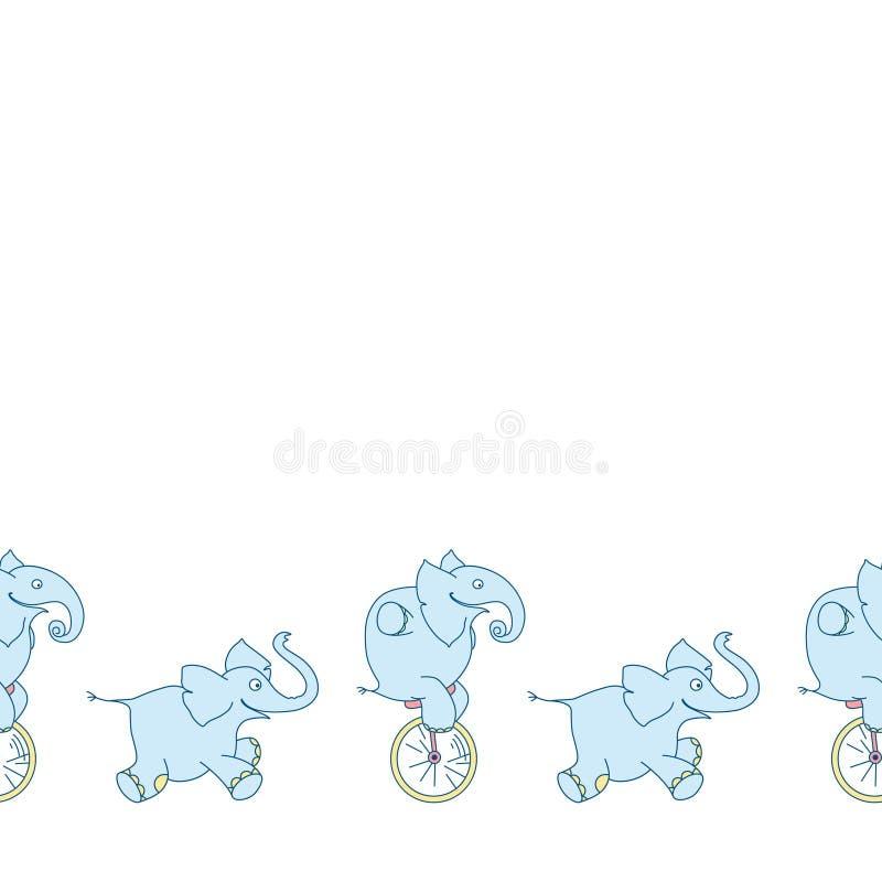 E Éléphant drôle sur le monocycle illustration libre de droits