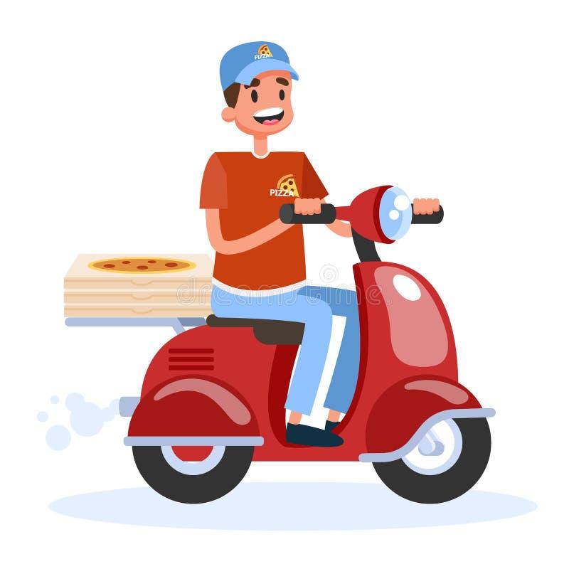 E Αγγελιαφόρος με το κιβώτιο στο μοτοποδήλατο απεικόνιση αποθεμάτων