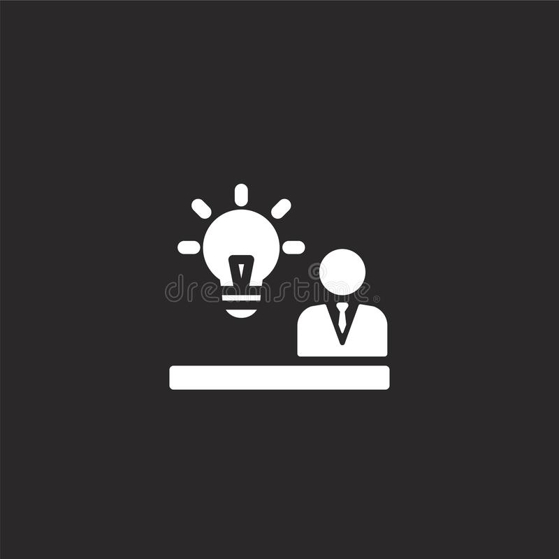 E Γεμισμένο εικονίδιο ιδέας για το σχέδιο ιστοχώρου και κινητός, app ανάπτυξη εικονίδιο ιδέας από τα συμπληρωμένα συμπληρωμένα δι απεικόνιση αποθεμάτων