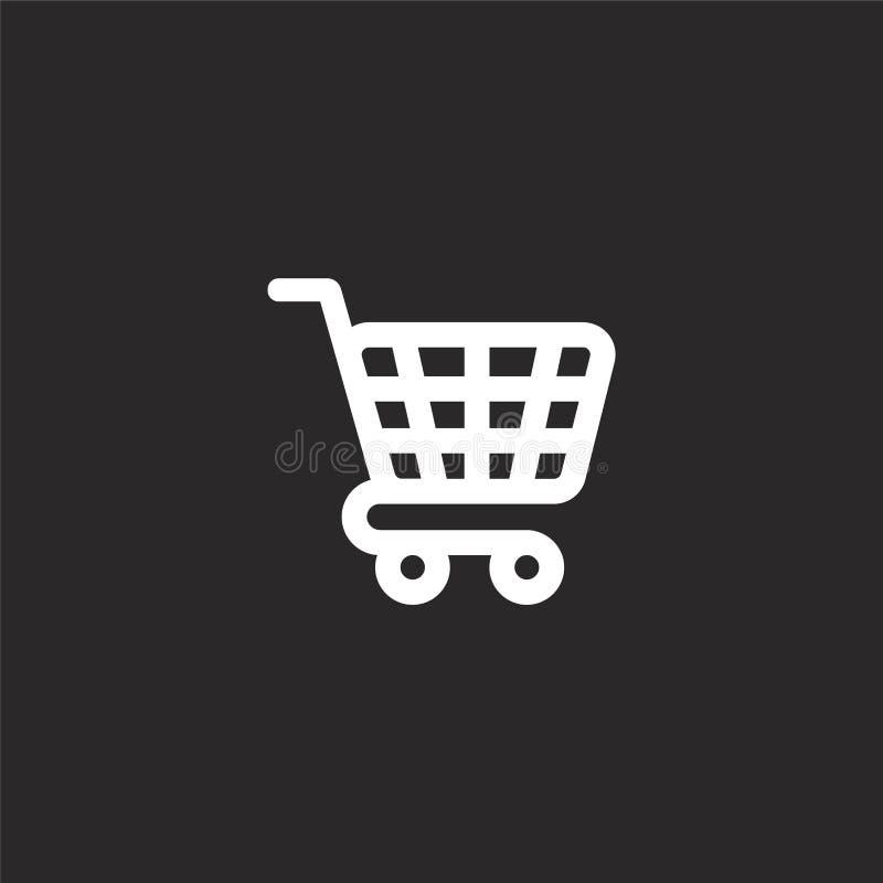 E Γεμισμένο εικονίδιο κάρρων αγορών για το σχέδιο ιστοχώρου και κινητός, app ανάπτυξη εικονίδιο κάρρων αγορών από γεμισμένος διανυσματική απεικόνιση