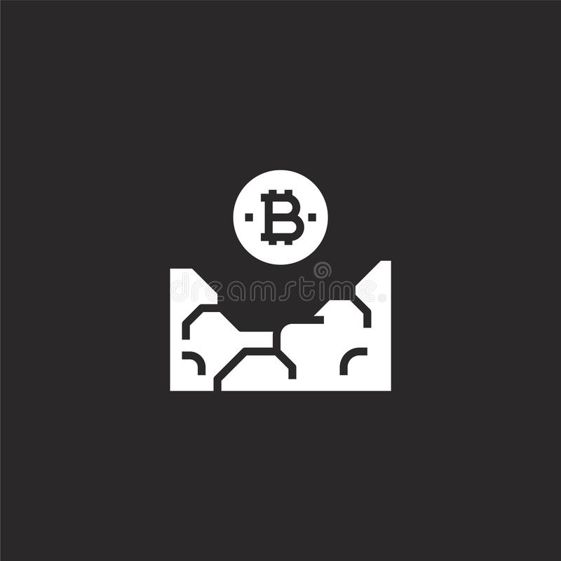 E Γεμισμένο bitcoin εικονίδιο για το σχέδιο ιστοχώρου και κινητός, app ανάπτυξη bitcoin εικονίδιο από τα γεμισμένα ψηφιακά χρήματ απεικόνιση αποθεμάτων