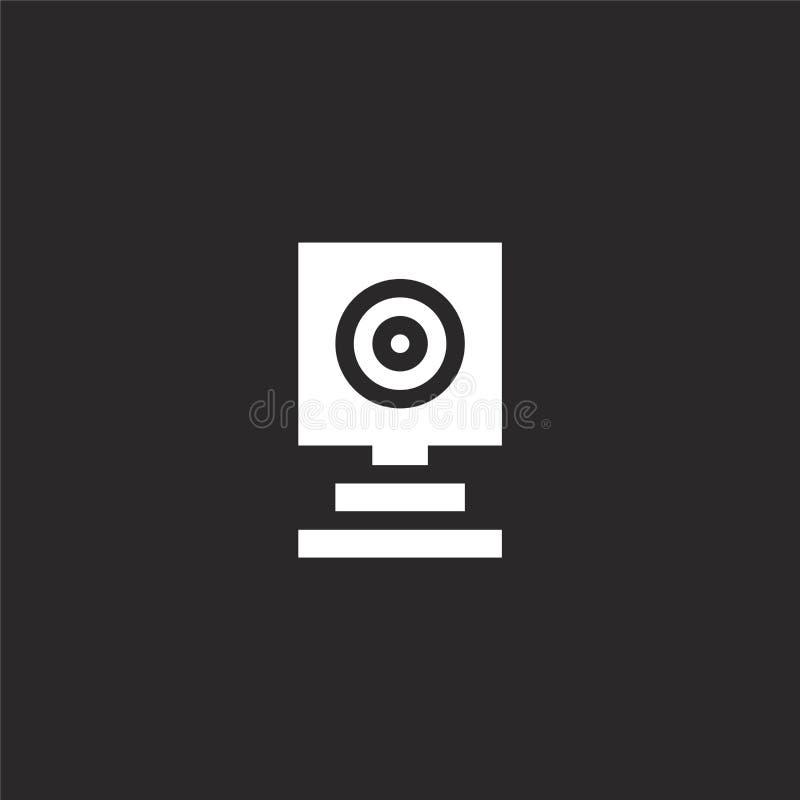 E Γεμισμένο webcam εικονίδιο για το σχέδιο ιστοχώρου και κινητός, app ανάπτυξη webcam εικονίδιο από τη γεμισμένη συλλογή φωτογραφ απεικόνιση αποθεμάτων
