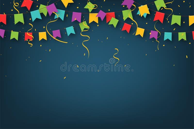 E Διακοσμητικές ζωηρόχρωμες σημαίες κομμάτων με το κομφετί για τον εορτασμό γενεθλίων ελεύθερη απεικόνιση δικαιώματος