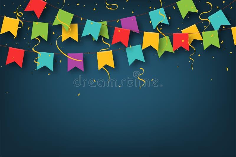 E Διακοσμητικές ζωηρόχρωμες σημαίες κομμάτων με το κομφετί για τον εορτασμό γενεθλίων, φεστιβάλ ελεύθερη απεικόνιση δικαιώματος