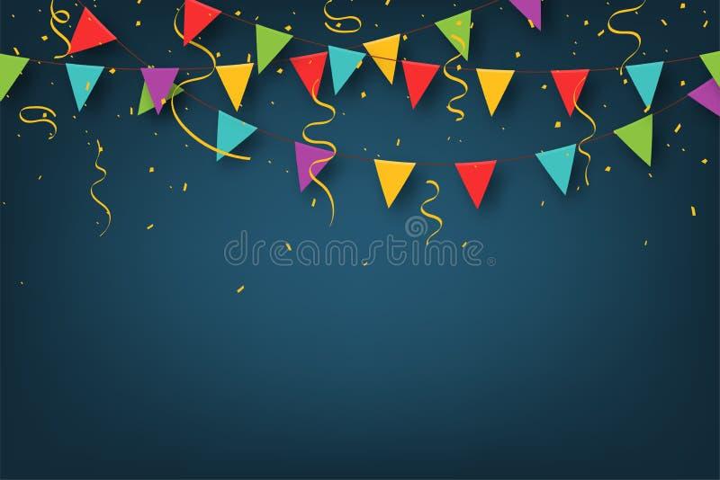 E Διακοσμητικές ζωηρόχρωμες σημαίες κομμάτων με το κομφετί για τον εορτασμό γενεθλίων, φεστιβάλ διανυσματική απεικόνιση