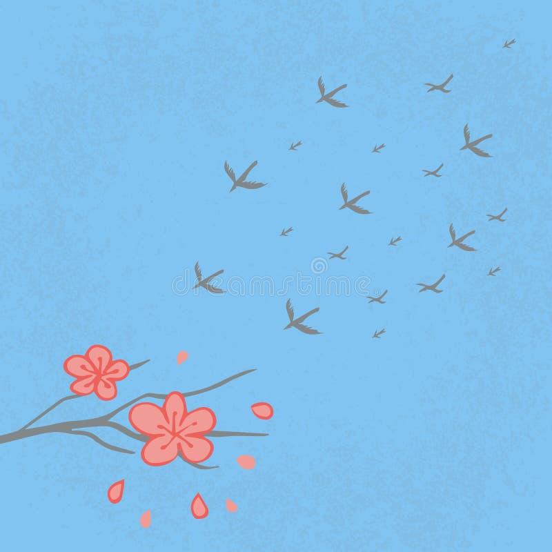 E Διπλό φεστιβάλ επτά 17 Αυγούστου κινεζικές διακοπές Ιστορία, μύθος Κινεζικό χέρι ύφους που σύρεται Sakura, κίσσες στοκ φωτογραφίες