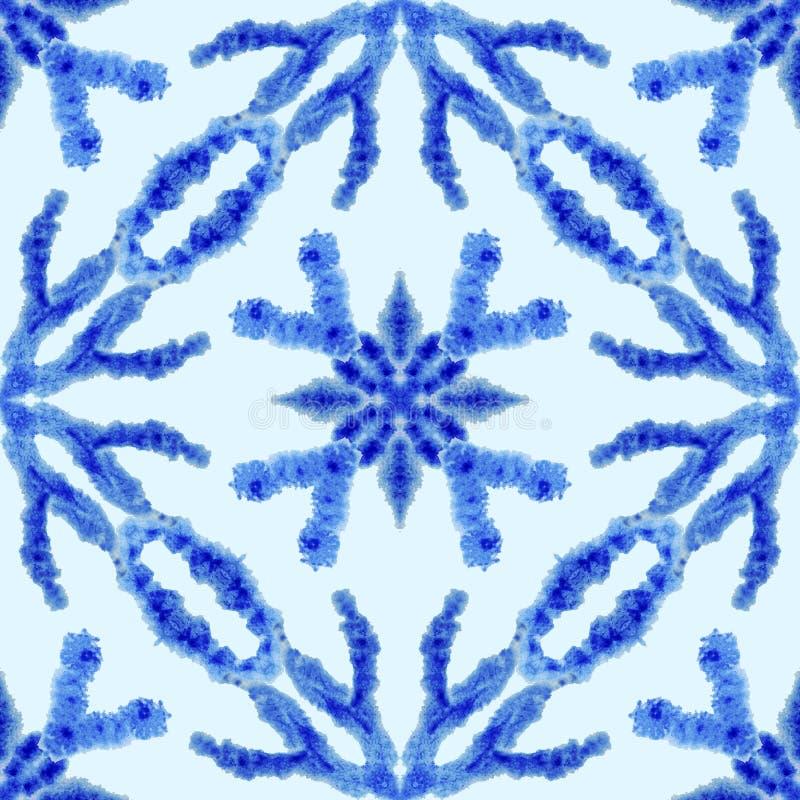 E Εθνική διακόσμηση boho Αφηρημένο βαμμένο δεσμός ύφασμα μπατίκ, βαφή Shibori Επανάληψη του υποβάθρου watercolor απεικόνιση αποθεμάτων