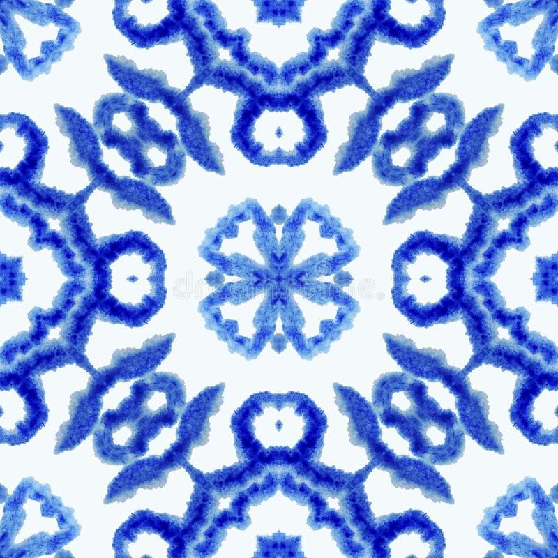 E Εθνική διακόσμηση boho Αφηρημένο βαμμένο δεσμός ύφασμα μπατίκ, βαφή Shibori Επανάληψη του υποβάθρου watercolor ελεύθερη απεικόνιση δικαιώματος