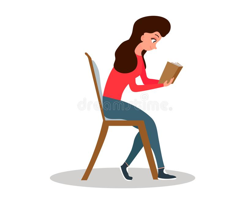 E Ελεύθερος χρόνος κοριτσιών Γυναίκα που διαβάζει ένα βιβλίο χαριτωμένο σπίτι κοριτσιών επίσης corel σύρετε το διάνυσμα απεικόνισ διανυσματική απεικόνιση