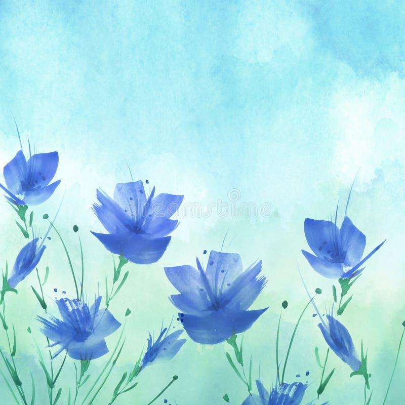 E Μια ανθοδέσμη των λουλουδιών του μπλε, παπαρούνες, wildflowers floral απεικόνιση watercolor, λογότυπο Αφηρημένος πράσινος, μπλε ελεύθερη απεικόνιση δικαιώματος