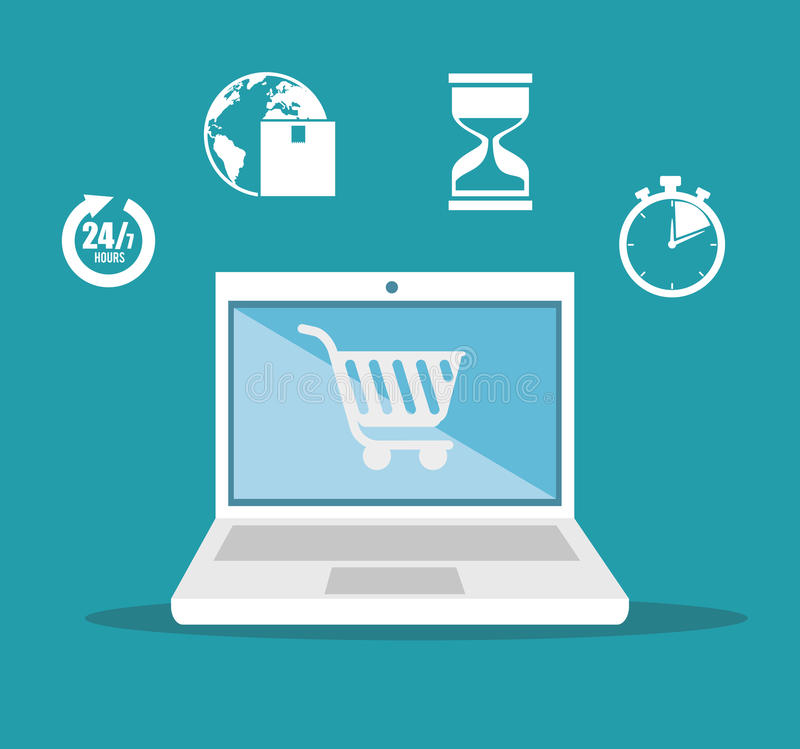 e- μπλε υπόβαθρο σχεδίου εικονιδίων παράδοσης καρτών αγορών εμπορίου απεικόνιση αποθεμάτων