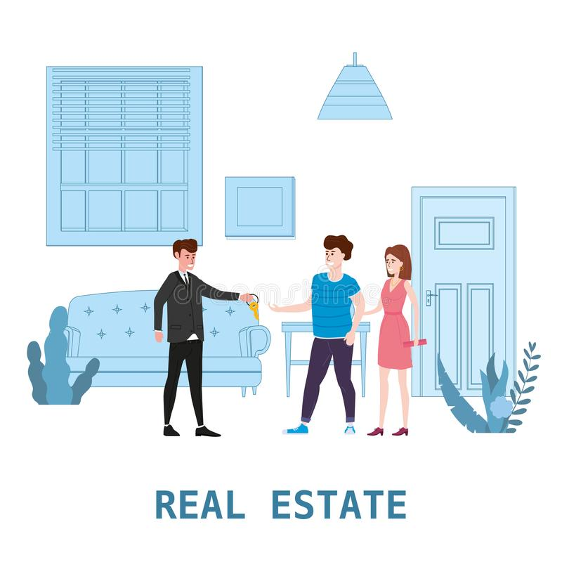 E Νέα εγχώρια υπηρεσία πώλησης ή μισθώματος Σύγχρονοι οικογενειακοί χαρακτήρες για να αγοράσει το καινούργιο σπίτι ή το μεγάλο δι διανυσματική απεικόνιση
