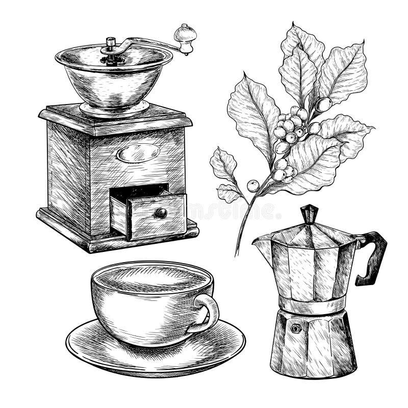 E Συρμένο χέρι σύνολο καφέ Αρχαίοι μύλος, geyser ή moca, φλυτζάνι και κλάδος r o διανυσματική απεικόνιση