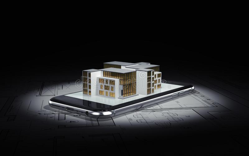 E Σχέδια αρχιτεκτόνων, στα οποία το smartphone βρίσκεται και το σχεδιάγραμμα του σπιτιού ελεύθερη απεικόνιση δικαιώματος