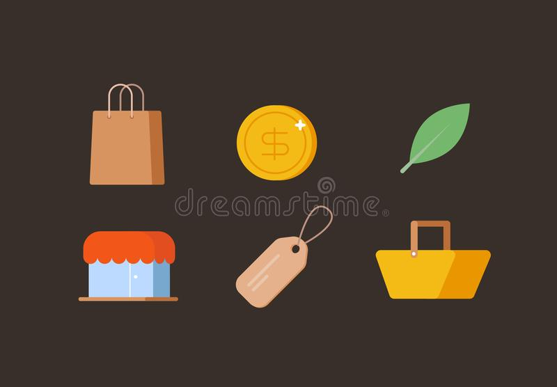 E - σύνολο εικονιδίων εμπορίου στοκ εικόνες