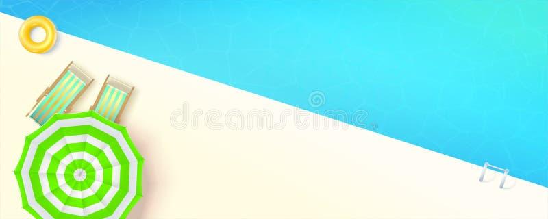 E Τοπ άποψη σχετικά με την πισίνα με τα deckchairs και την ομπρέλα θαλάσσης Διανυσματική τρισδιάστατη απεικόνιση, χρόνος διασκέδα απεικόνιση αποθεμάτων