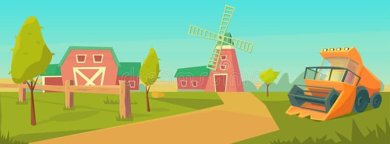 E Το αγροτικό αγροτικό τοπίο με συνδυάζει τη θεριστική μηχανή και την κόκκινη σιταποθήκη, και τον πύργο νερού ελεύθερη απεικόνιση δικαιώματος