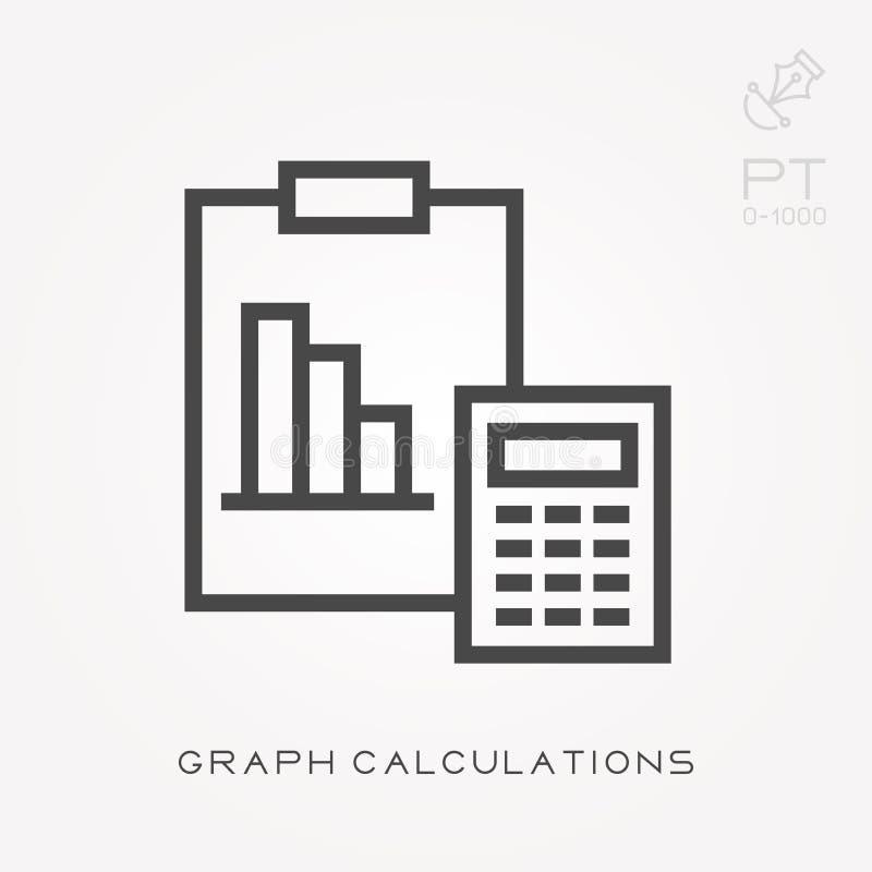 E Υπολογισμοί γραφικών παραστάσεων εικονιδίων γραμμών διανυσματική απεικόνιση
