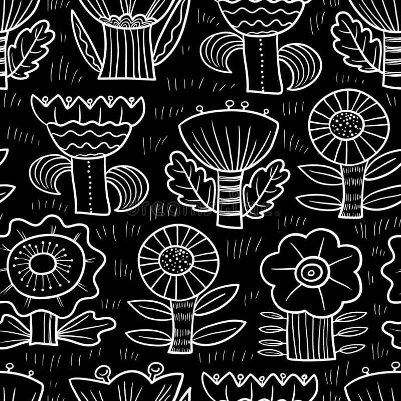 E Υπόβαθρο Doodle με τα αφηρημένα λουλούδια και τα φύλλα r ελεύθερη απεικόνιση δικαιώματος