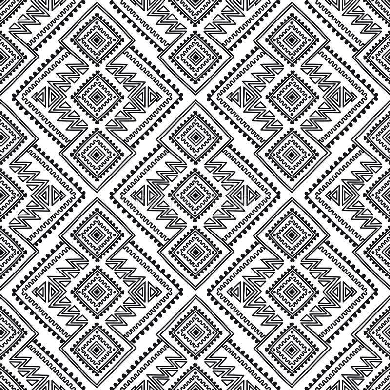 E Φυλετική τυπωμένη ύλη γραμμών στο αφρικανικό, μεξικάνικο, αμερικανικό, ινδικό ύφος Γεωμετρικό υπόβαθρο boho ελεύθερη απεικόνιση δικαιώματος