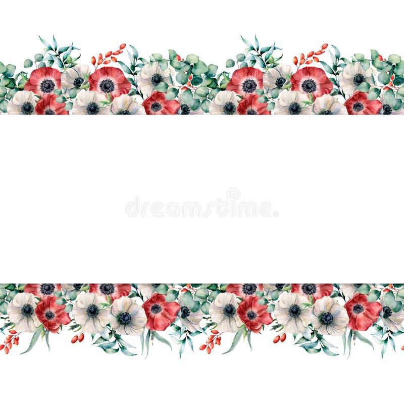 E Χρωματισμένα χέρι λουλούδια με τα φύλλα και τους κλάδους ευκαλύπτων ελεύθερη απεικόνιση δικαιώματος