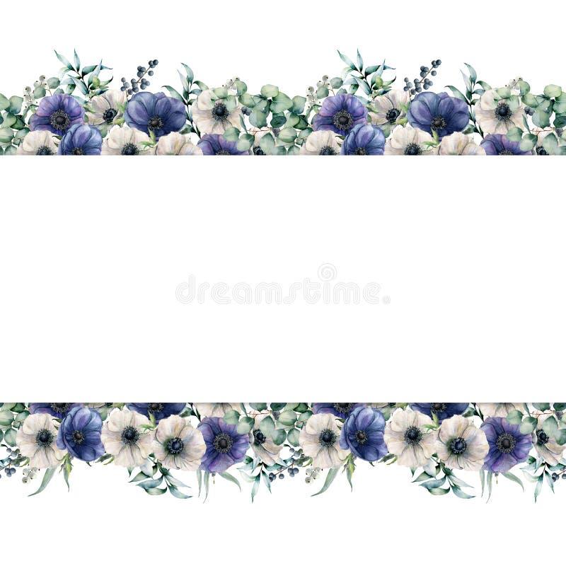 E Χρωματισμένα χέρι λουλούδια με τα φύλλα και τους κλάδους ευκαλύπτων διανυσματική απεικόνιση
