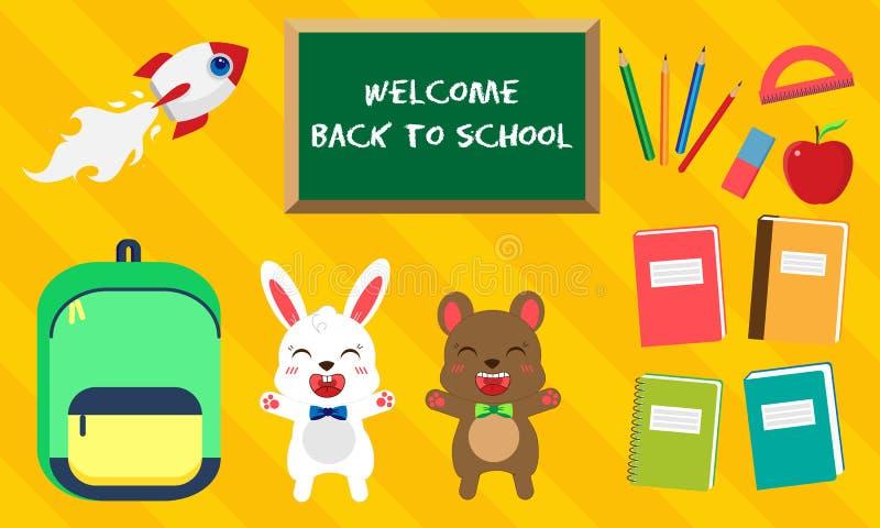 E Вектор установил значков образования в стиле kawaii Зайчик и медведь с бабочкой, зеленой сумкой, книгой, ручкой, яблоком иллюстрация штока