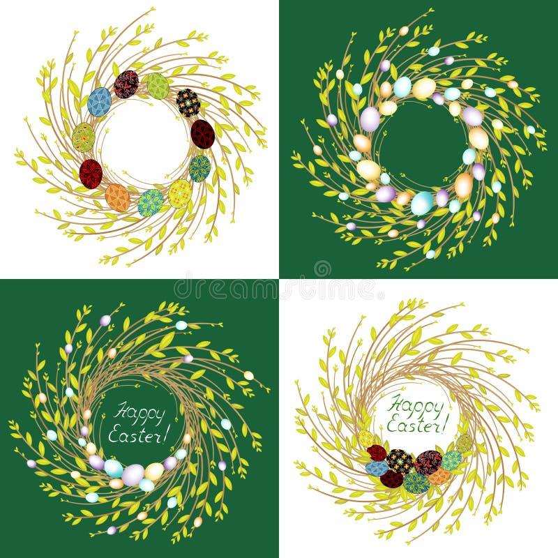 E Венок молодых ветвей вербы Состав украшен с красивыми пасхальными яйцами Символ весны и бесплатная иллюстрация