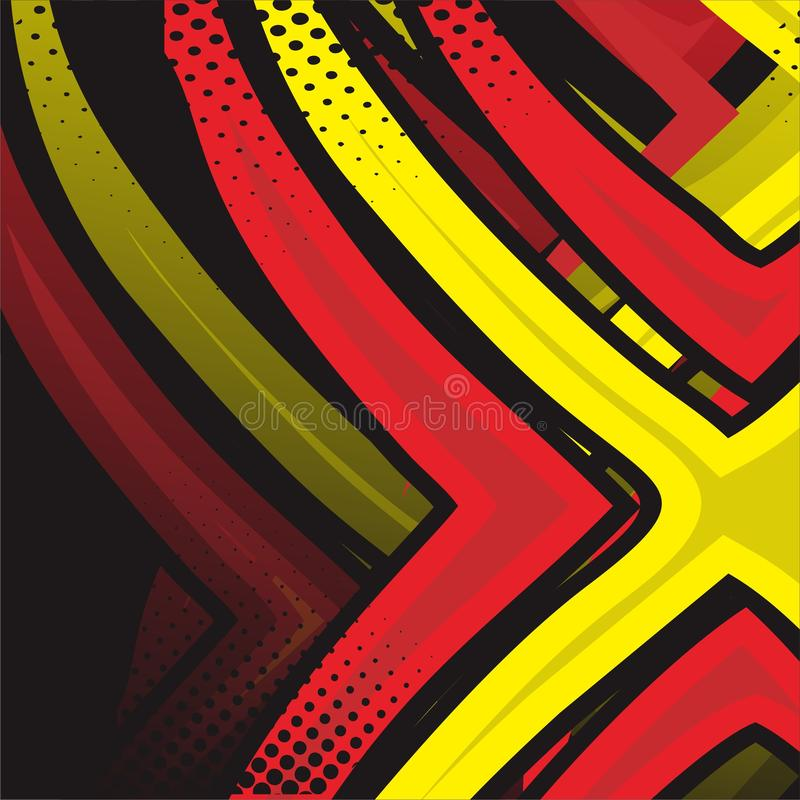 E Графический вектор Участвовать в гонке предпосылка для обруча и этикеты винила красный и зеленый, желтый, черный цвет - вектор иллюстрация штока