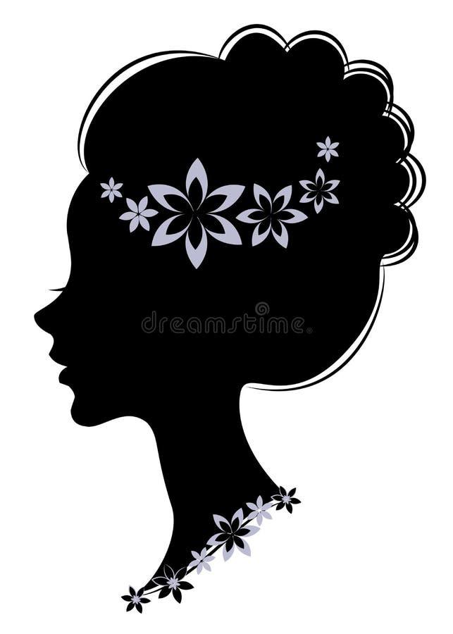 E Девушка имеет длинные красивые волосы, украшенные с пурпурными цветками Соответствующий для иллюстрация штока