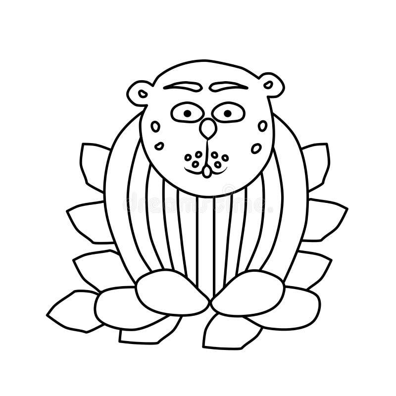 E Животное сидит на листьях Творческая задача для ребенка Белая иллюстрация r бесплатная иллюстрация