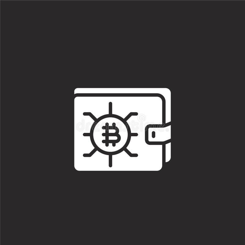 E Заполненный значок бумажника для дизайна вебсайта и черни, развития приложения значок бумажника от заполненного собрания blockc иллюстрация вектора