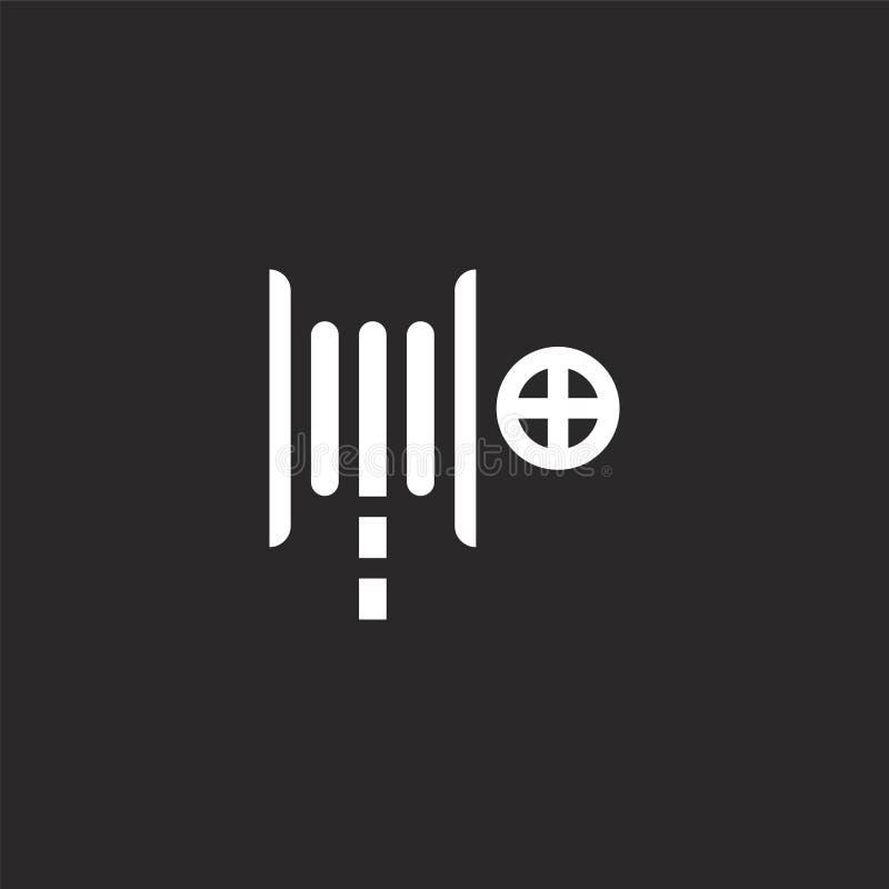 E Заполненный значок пожарного рукава для дизайна вебсайта и черни, развития приложения значок пожарного рукава от заполненной ав иллюстрация вектора