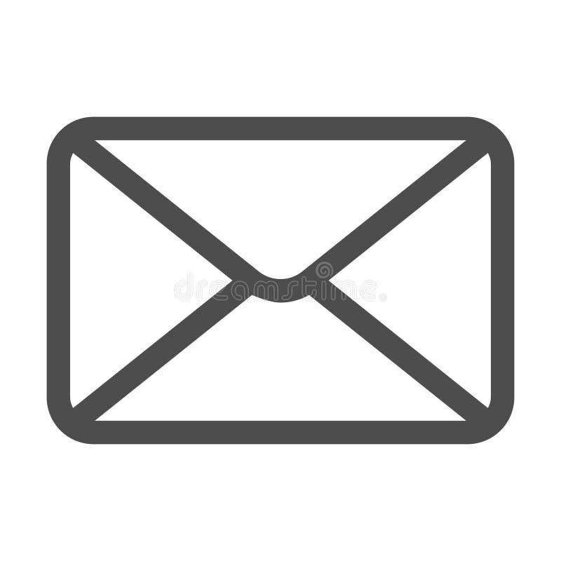 E Знак конверта r Значок электронной почты Значок письма Прозрачная предпосылка иллюстрация штока