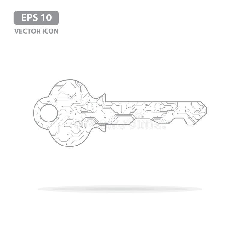 E Ключ монтажной платы Концепция безопасности или частного ключа кибер r иллюстрация вектора