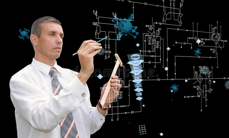 E-конструировать технологию компьютерной инженерии стоковая фотография rf