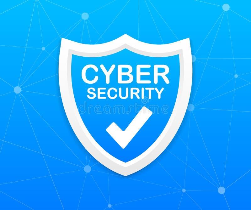 E Концепция экрана безопасностью Безопасность интернета r иллюстрация штока
