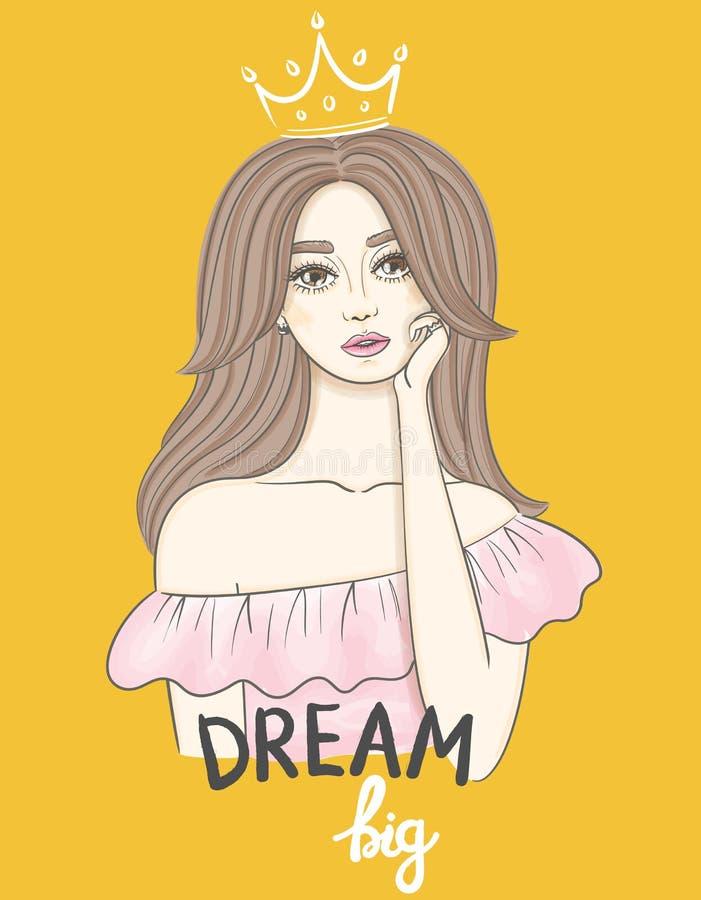 E Красивая молодая женщина с длинными волнистыми волосами в мечте письменного текста кроны и руки большой иллюстрация вектора