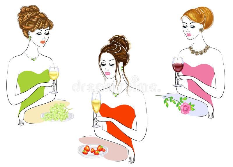 E Красивые девушки сидят на таблице Женщины держат стекло вина красных, белых и шампанского Следующая клубника, виноградины иллюстрация вектора