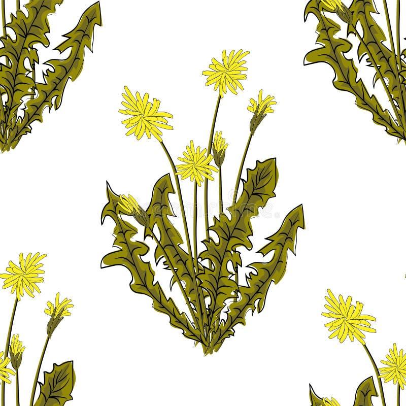 E Летание семян одуванчика Стильная повторяя текстура r иллюстрация штока