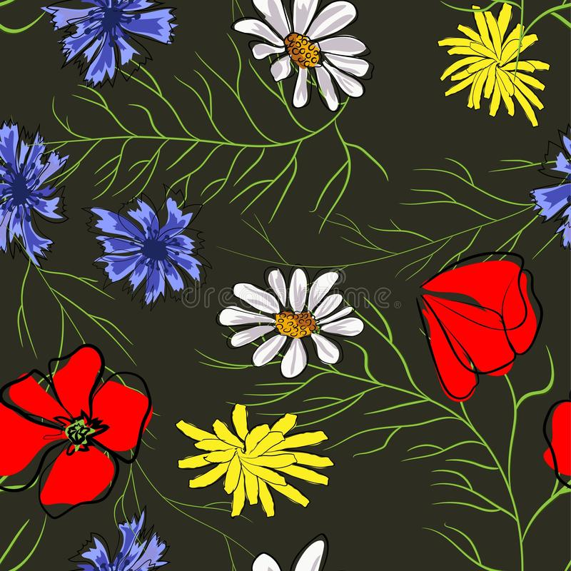 E Мак, стоцвет, cornflower Иллюстрация на черной предпосылке иллюстрация штока