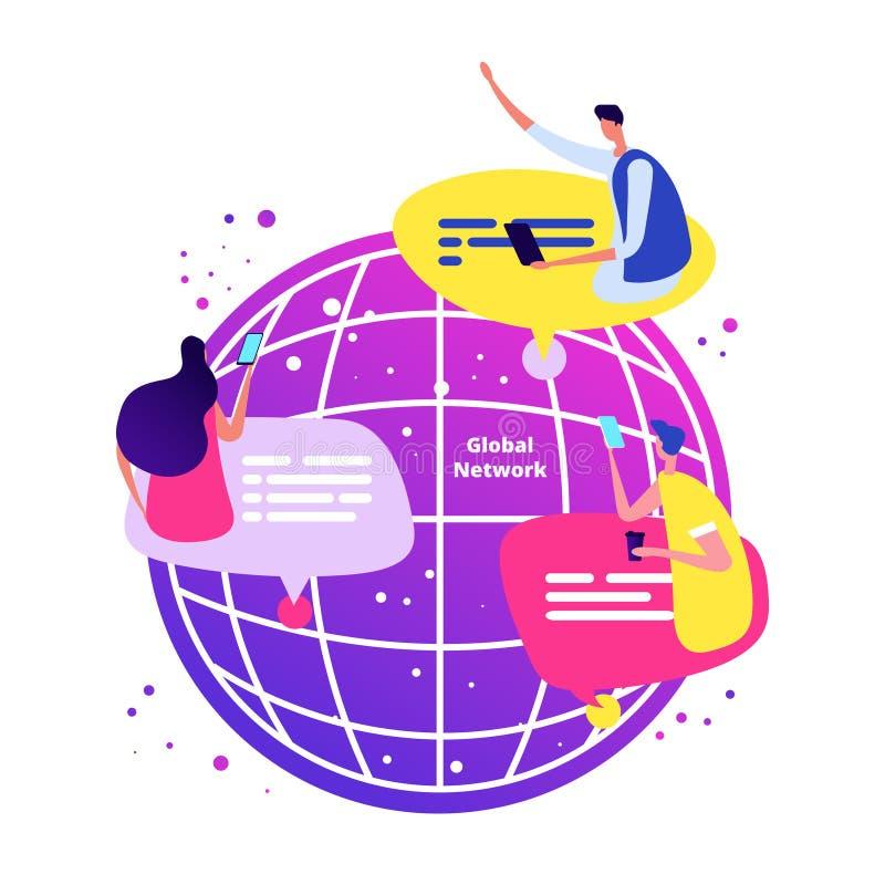 E Международная онлайн болтовня с иллюстрацией вектора телефонов иллюстрация штока