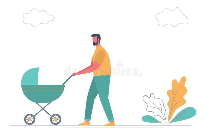 E Молодой человек с зеленым экипажом на прогулке иллюстрация вектора