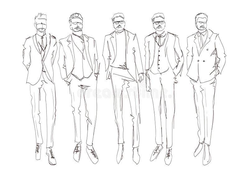 E Молодые люди руки вычерченные красивые Набор стильных людей Эскиз людей моды Люди моды иллюстрация вектора