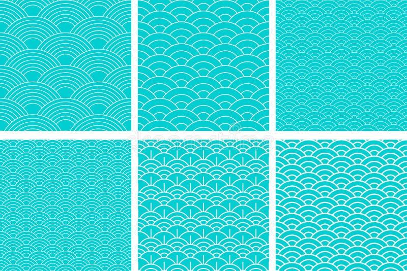 E Набор волны Рыба масштабирует текстуру r Scrapbook, упаковочная бумага подарка, ткани Голубая простая бесплатная иллюстрация