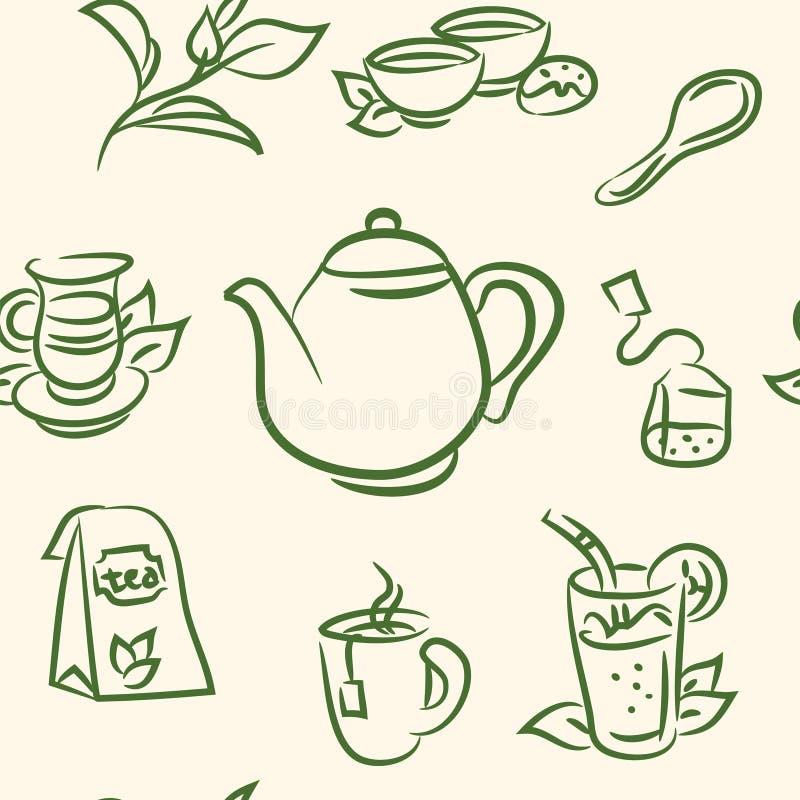 E набор чая doodle r иллюстрация вектора