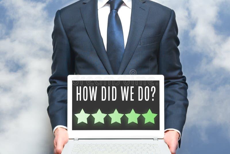 E Онлайн обзор для клиента для того чтобы выйти оценка или комментарий стоковое фото