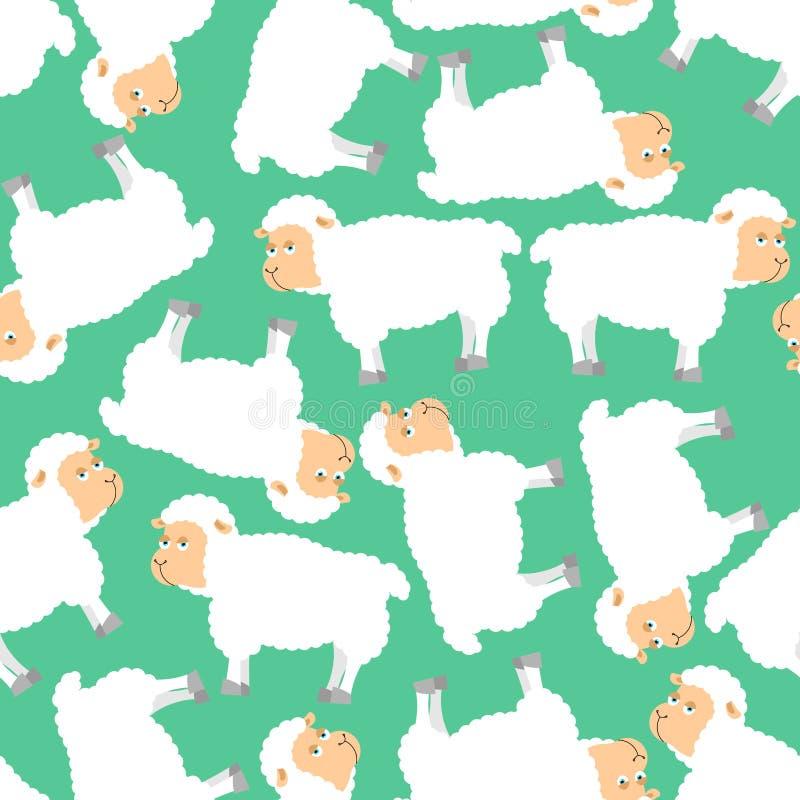 E орнамент овцы Стая овец Backgr животноводческой фермы иллюстрация штока