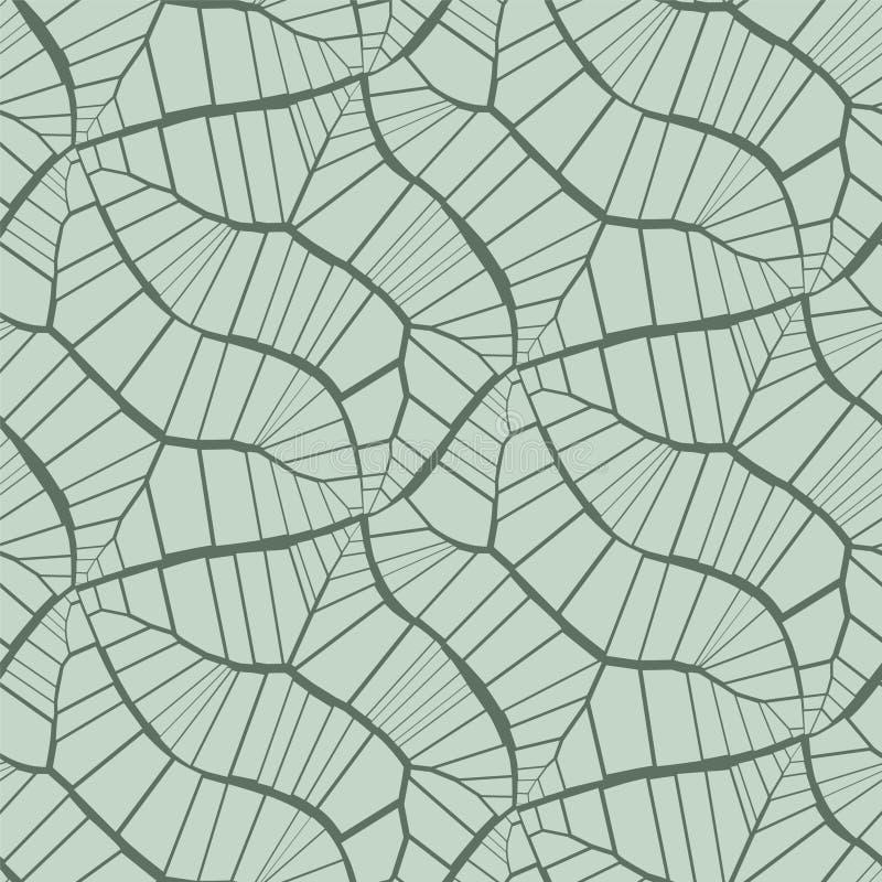 E Отказы, листья, вены Светлый пастельный зеленый цвет на черной предпосылке иллюстрация штока