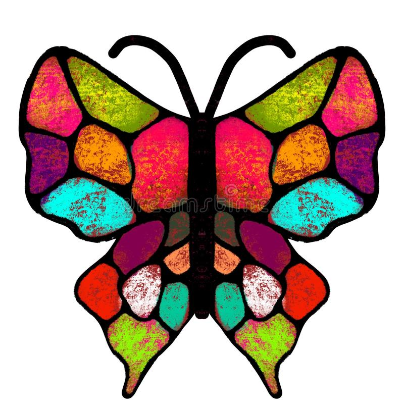 E Пестротканая, покрашенная бабочка Иллюстрация насекомого иллюстрация вектора